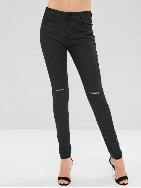 fancy Ripped Skinny Pants with Pocket - BLACK M Mobile