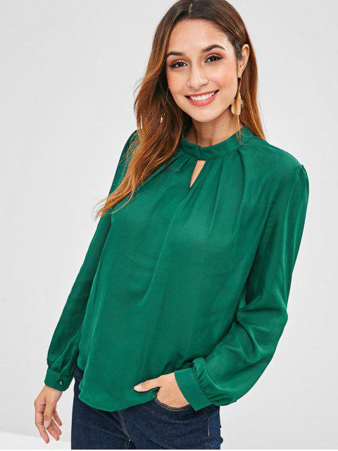 best Pleated Neck Long Sleeve Top - DEEP GREEN L Mobile