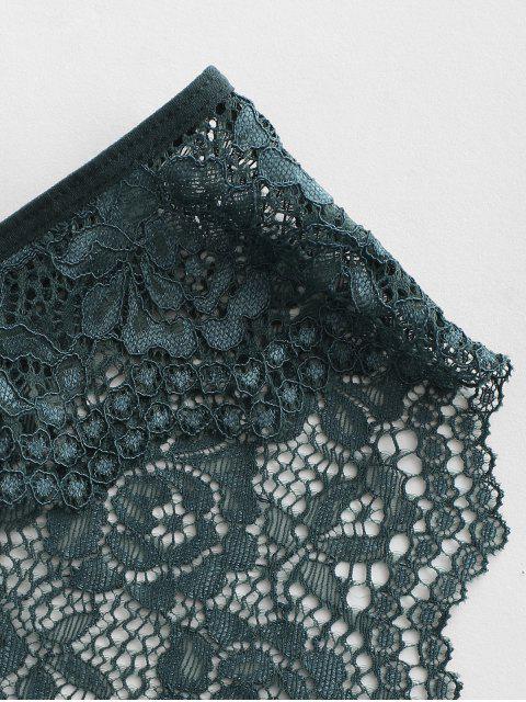 women Floral Lace See Thru Panties - DARK GREEN M Mobile