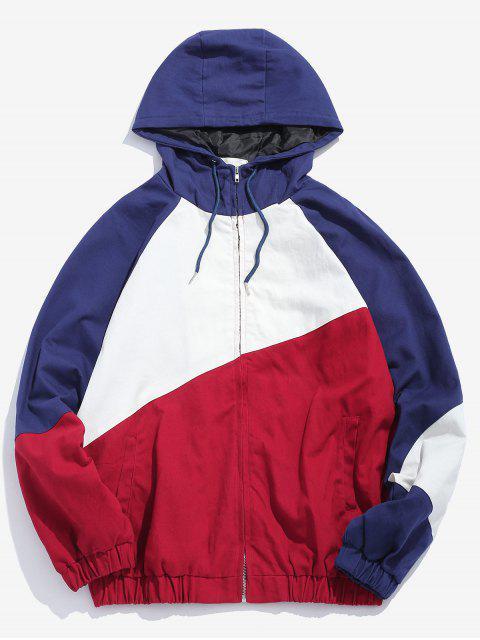 Veste à Capuche Contrastée à Cordon - Rouge XL Mobile