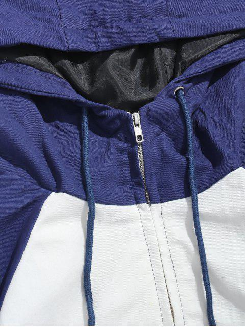 ladies Contrast Drawstring Hooded Jacket - BLACK 2XL Mobile