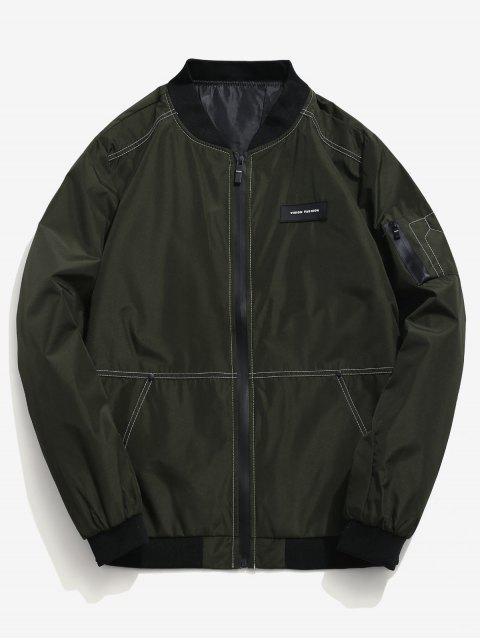 Applique Side Zip Pocket Jacket - Vert Armée  XS Mobile