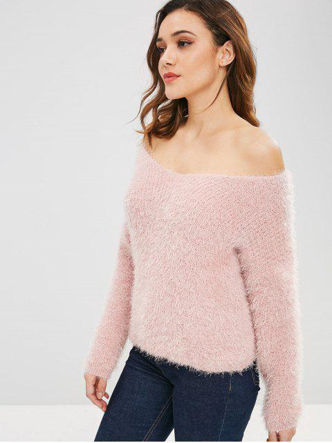 women's Off Shoulder Textured Sweater - LIGHT PINK ONE SIZE Mobile