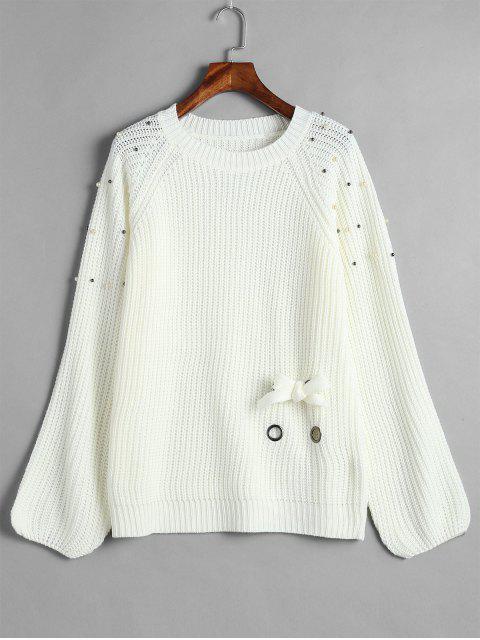 Chandail Perlé à Manches Raglan à Lacets - Blanc Taille Unique Mobile