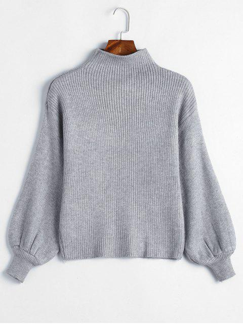 shops Balloon Sleeve Solid Color Sweater - GRAY CLOUD ONE SIZE Mobile