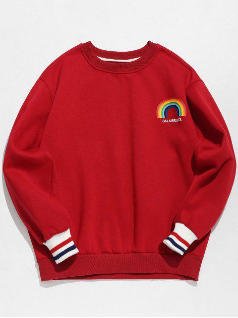 Sweat-shirt Pull-over Arc-en-ciel Imprimé en Laine - Rouge M Mobile