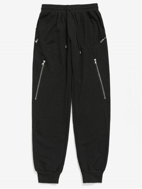 Pantalon de Jogging Zip Décoration à Cordon - Noir 2XL Mobile