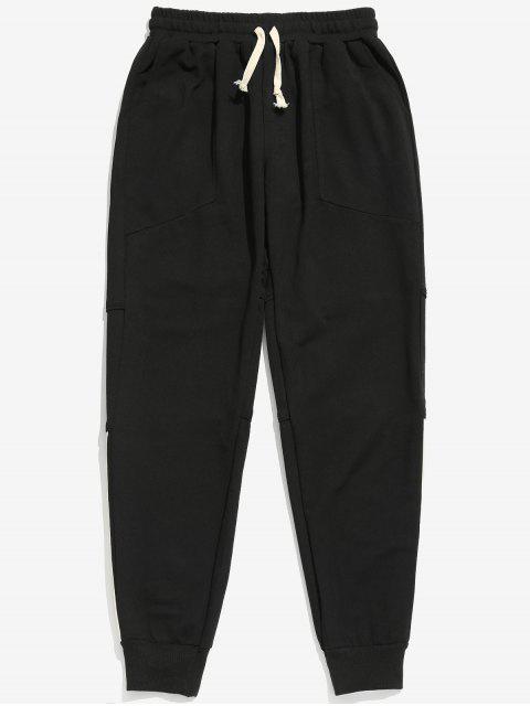 Pantalon de Jogging à Rayure Latérale avec Poches - Noir 2XL Mobile