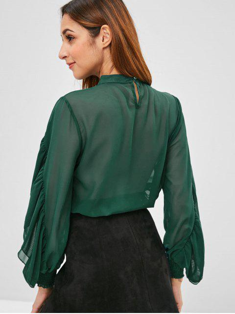best Layered Ruffle Overlay Blouse - SEA TURTLE GREEN S Mobile