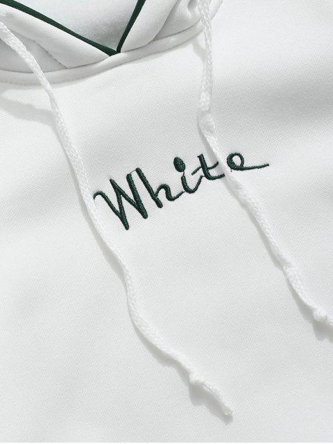 fashion Color Clock Letter Printed Pullover Hoodie - WHITE M Mobile