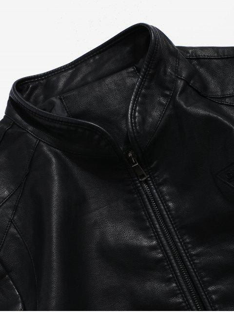 ladies Solid PU Triangle Print Pockets Zip Coat - BLACK XS Mobile