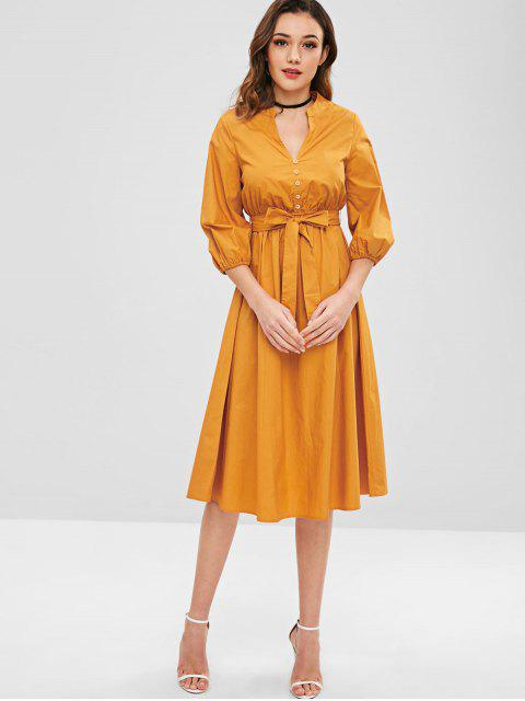 women's ZAFUL A Line Midi Dress with Belt - ORANGE GOLD S Mobile