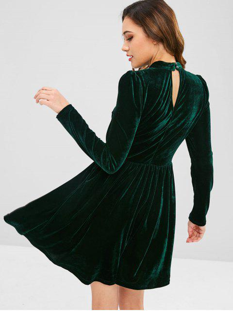 ladies ZAFUL Velvet A Line Keyhole Dress - DARK GREEN S Mobile