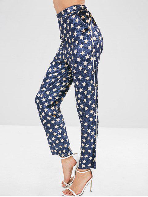 ZAFUL Star Pattern terciopelo pantalones rectos - Azul de Pizarra Oscuro XL Mobile