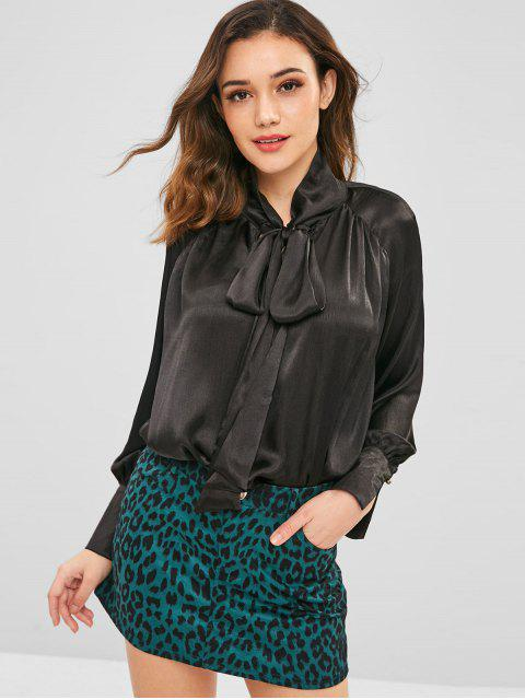 fashion ZAFUL Plain Loose Bowtie Blouse - BLACK L Mobile