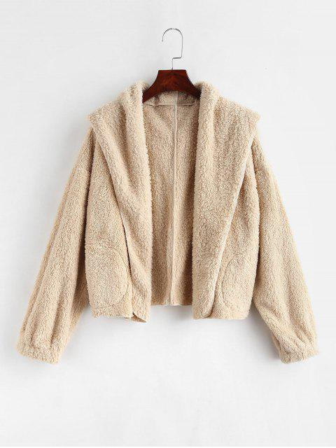 ladies ZAFUL Open Front Fluffy Teddy Jacket - CHAMPAGNE S Mobile