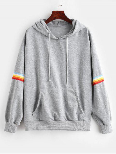 womens Rainbow Stripe Kangaroo Pocket Hoodie - GRAY XL Mobile