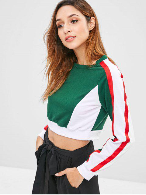 new ZAFUL Side Striped Color Block Sweatshirt - DARK GREEN M Mobile