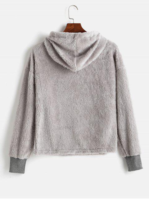 fashion Drawstring Fluffy Faux Shearling Hoodie - GRAY CLOUD S Mobile