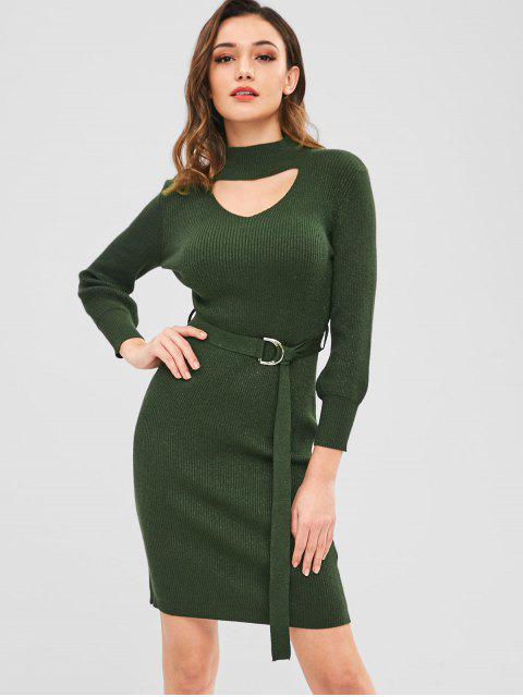 ZAFUL Bodycon con corte suéter vestido con cinturón - Verde Oscuro Talla única Mobile