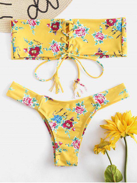 Ensemble de bikini bandeau à imprimé floral à lacets - Jaune L Mobile
