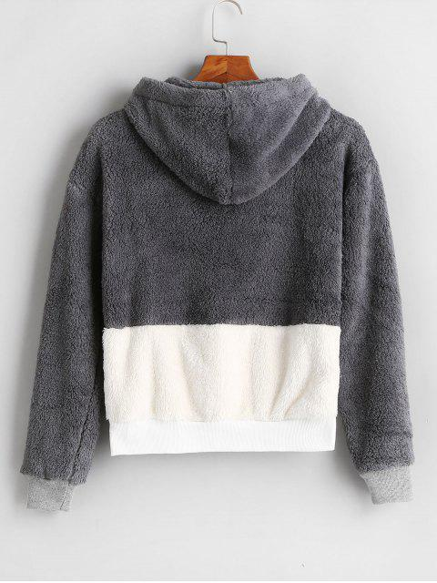 online Color Block Fluffy Faux Shearling Teddy Hoodie - MULTI M Mobile