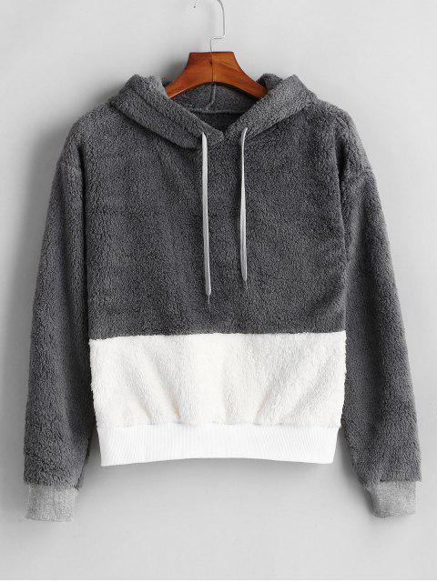 Flauschiger, flauschiger Faux Shearling Teddy Hoodie - Multi L Mobile