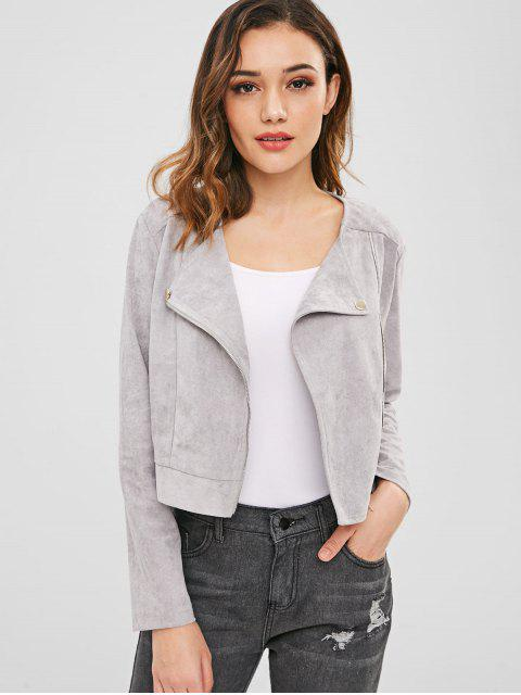 affordable ZAFUL Faux Suede Jacket with Zip - LIGHT GRAY S Mobile