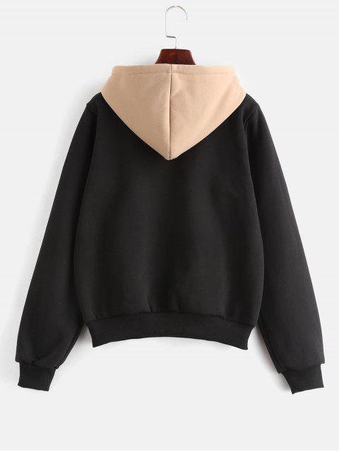 womens ZAFUL Pouch Pocket Fleece Pullover Hoodie - BLACK L Mobile