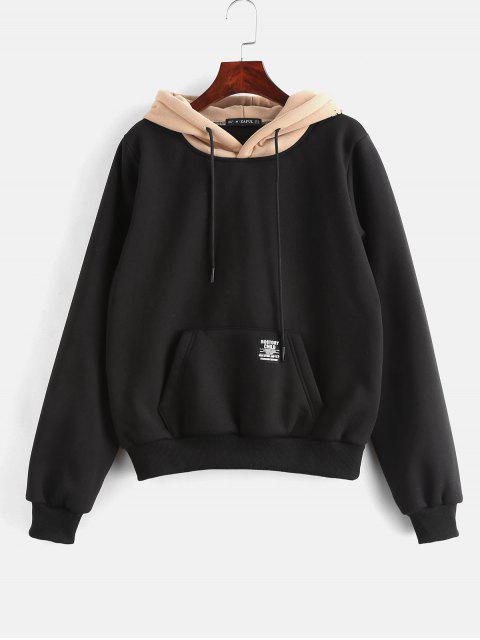 buy ZAFUL Pouch Pocket Fleece Pullover Hoodie - BLACK M Mobile