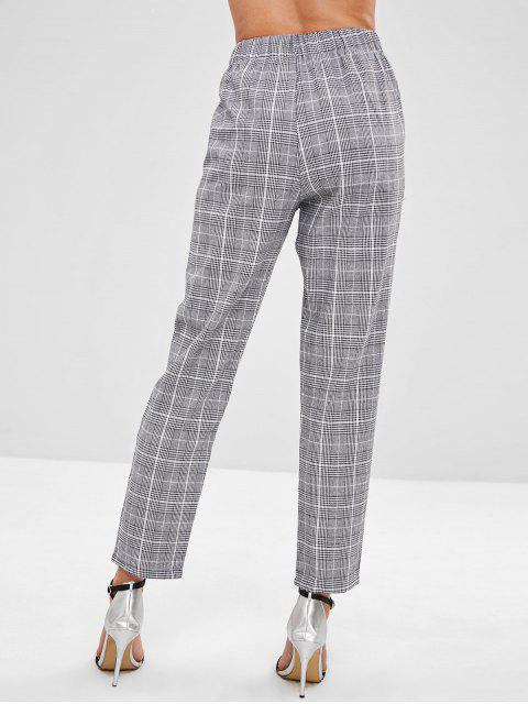 Pantalones rectos a cuadros de cintura elástica - Negro L Mobile