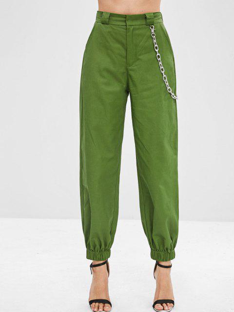 Chain Embellished Jogger Pants - متوسطة غابة خضراء L Mobile