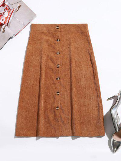 Button Up Corduroy Mid Calf Skirt