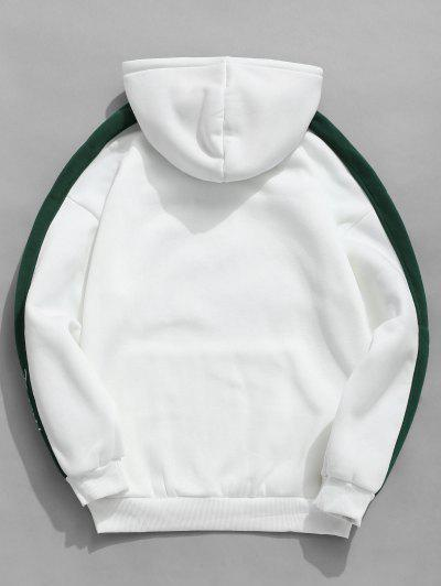 Color Clock Letter Printed Pullover Hoodie, White