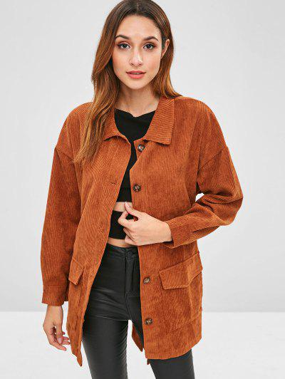 c7c8420b4d2 Corduroy Tunic Shirt Jacket With Belt - Brown S ...