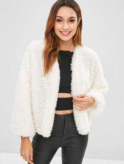 Open Faux Shearling Teddy Coat - White