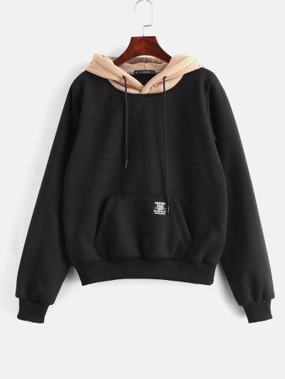 ZAFUL Pouch Pocket Fleece Pullover Hoodie - Black S
