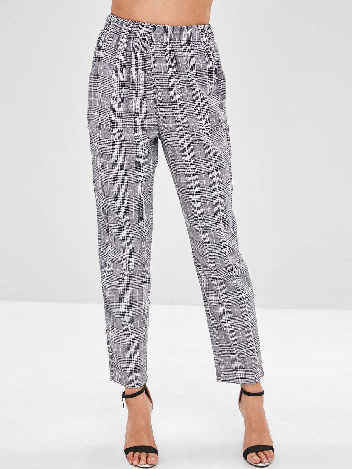 Elastic Waist Straight Plaid Pants