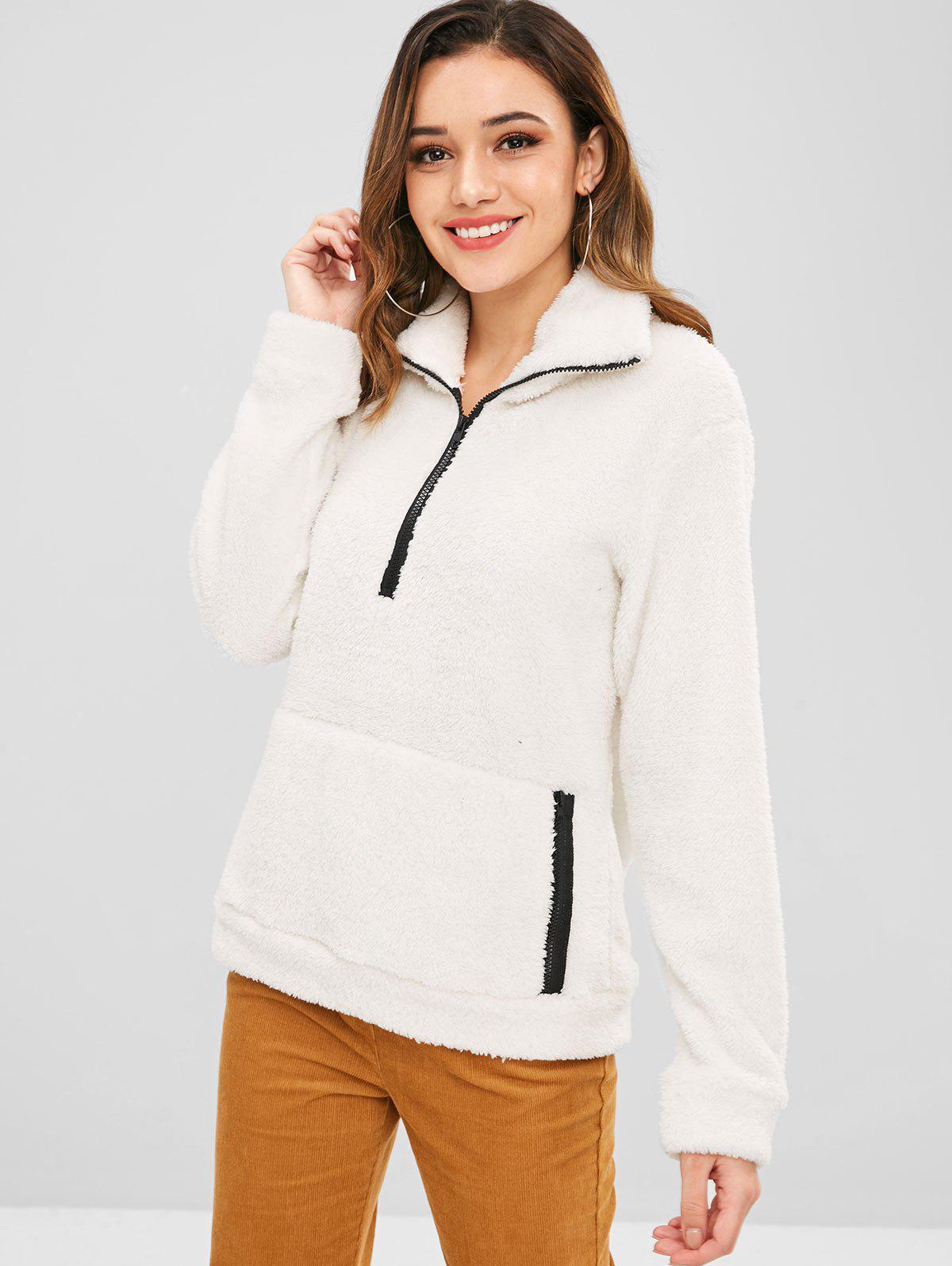 ZAFUL Half Zip Faux Fur Sweatshirt, White