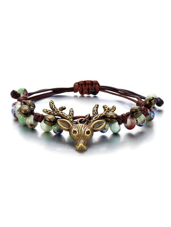 Deer Head with Bell Pattern Beaded Bracelet, Multi