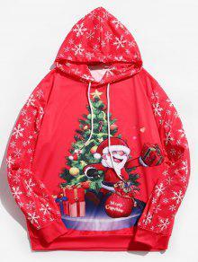 سانتا كلوز مطبوعة الرباط هوديي - وردة حمراء Xl