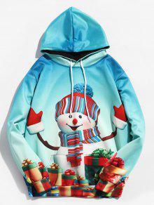 عيد الميلاد 3D ثلج طباعة البلوز هوديي - ضوء البحر الاخضر L