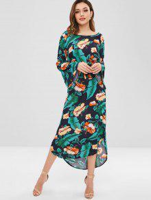 أوراق النخيل كم فستان زهري - متعدد Xl