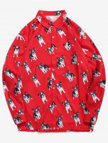 مضحك جرو طباعة عادية القميص - أحمر L