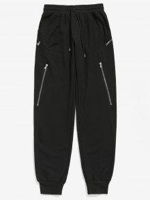 زيبر الديكور سروال الرباط عداء ببطء - أسود L