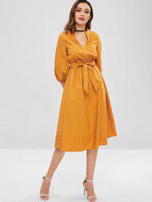 فستان ZAFUL A Line ميدي مع حزام - الذهب البرتقالي Xl