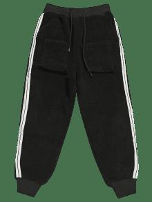 Fourrure Pantalon En Fausse À Latérales Rayures 8wmNnv0