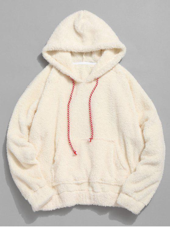 chic Kangaroo Pocket Plain Faux Fur Hoodie - WARM WHITE M