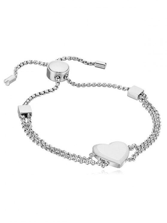 women's Heart Decor Metal Layered Bracelet - SILVER