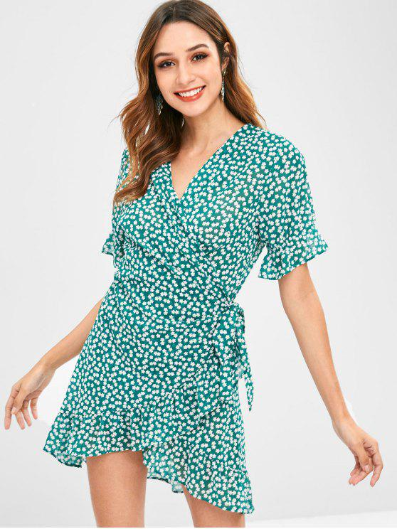 fashion ZAFUL Floral Ruffles Wrap Dress - MEDIUM FOREST GREEN S